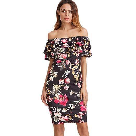 de5537563e EFINNY Women s Retro Floral Print Ruffle Mini Dress Off Shoulder ...