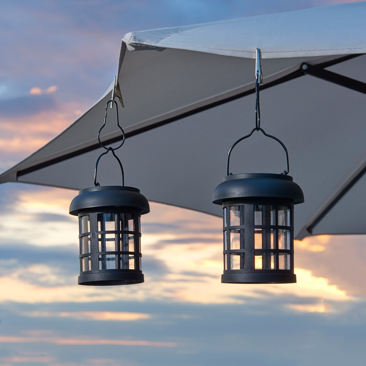 Hanging solar patio lights -  2 Pack Includes Handle Hanging Clips And Replaceable Rechargeable Ni Mh Battery Powered By Integral Solar Panel Patio Umbrella Lights Patio