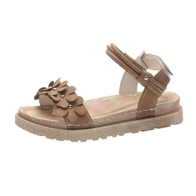 OYSOHE Damen Schuhe Sommer Frauen Mode Solide Blume Rom Flaches Ferse Dicke Boden Sandalen