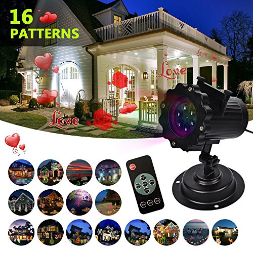 LIFU Christmas Lights Projector - 2017 Upgrade Version 16 Patterns LED Projector Landscape lamp Remote Control and Waterproof Perfect for Halloween or Christmas
