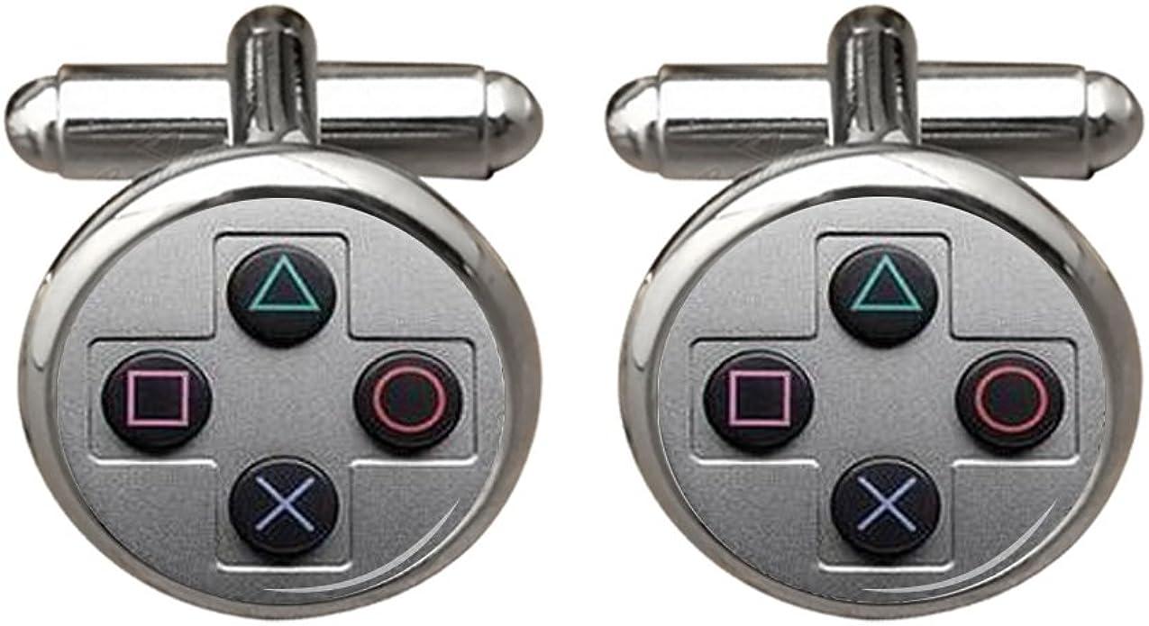 Zunon para hombre consolas de juego botones Gamer Novios camisetas redondo chapado en plata Gemelos: Amazon.es: Joyería