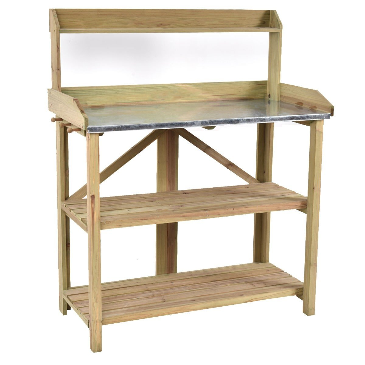 Blessing2220 Outdoor Garden Potting Bench Planting Workstation Shelves with Solid Wood Construction (Series 1)