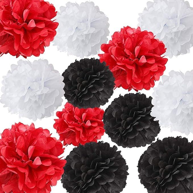 12pcs Blanco Negro Rojo Color mezclado Papel de seda Pom ...