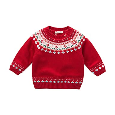 Amazon Dave Bella Baby Unisex Red Cotton Pullover Sweater