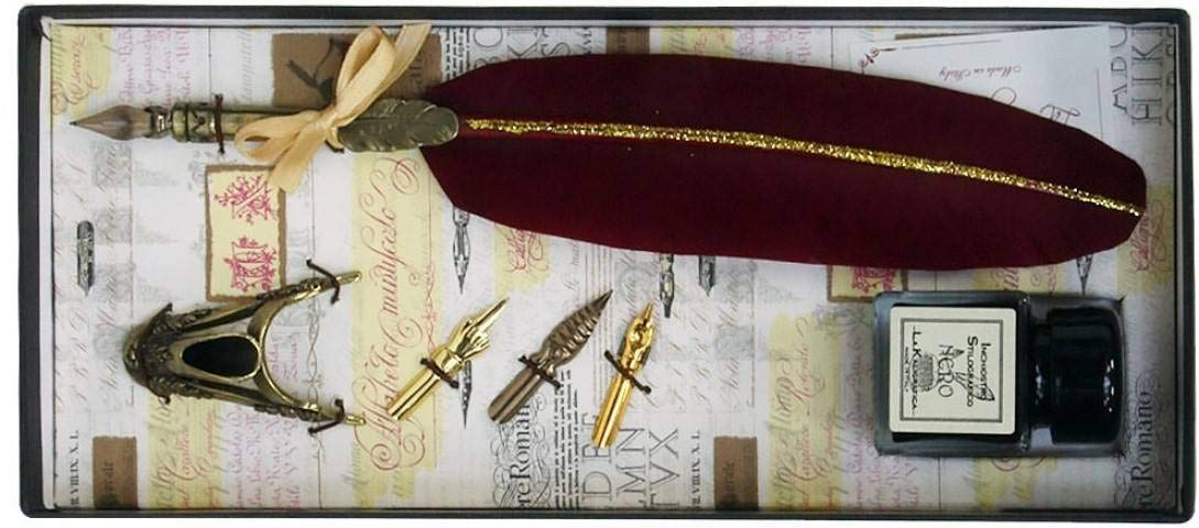 Coles Calligraphy Mens Feather Brass Pen and Ink Set - Burgundy by Coles Calligraphy (Image #2)