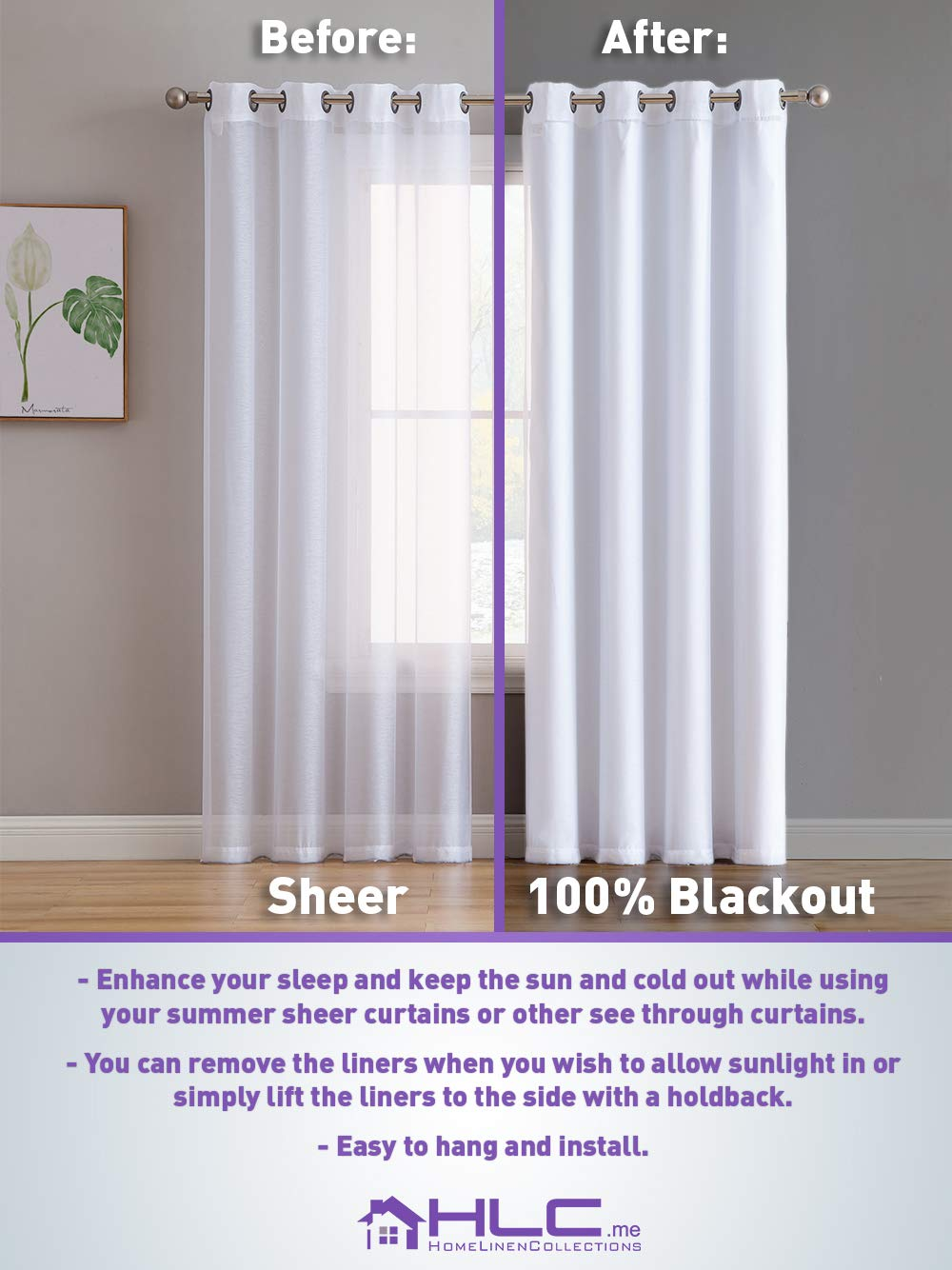 Complete Darkness /& Privacy HLC.ME White Thermal Insulated 100/% Blackout Curtain Liner 63 inch Grommet Panel 50 W x 60 inch Energy Efficient 2 Panel, 50 W x 60 inch Noise Reducing 8 Rings Included