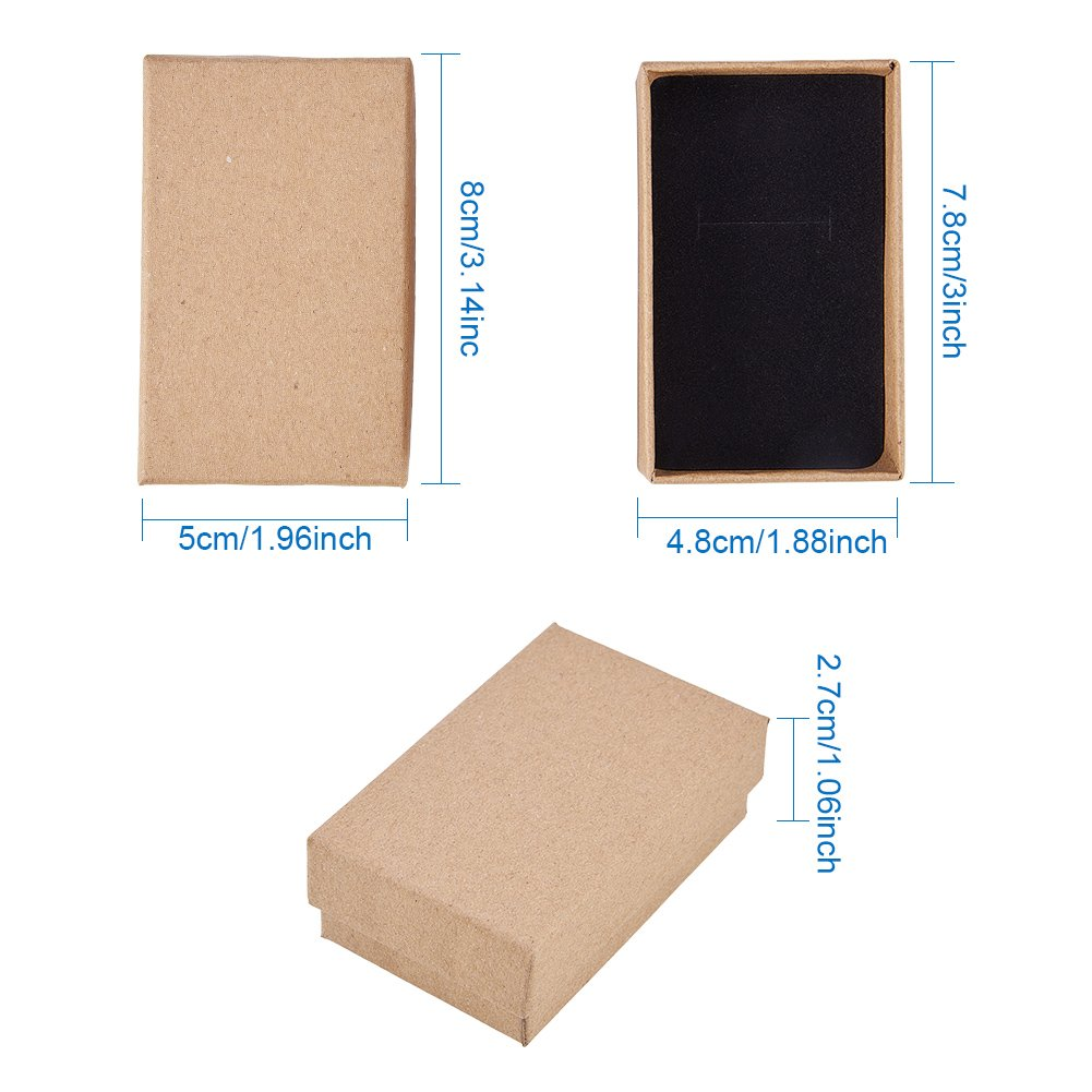 BENECREAT 16 Pack Small Size Kraft Square Cardboard Jewelry Boxes for Jewelry Set Brown 2.75 by 2.75 by 1-Inch