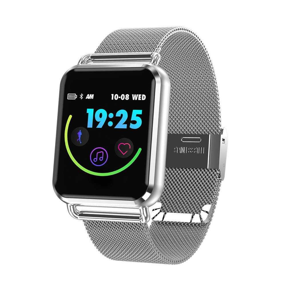 Vacio Smart Watch,1.3 Inch Tempered Glass Screen Bluetooth Watch with Heart Rate Sleeping Monitor Pedometer Fashion Sports Band Fits iPhone X Samsung S10 (Silver 01)