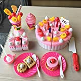 XENO-Plastic cutting birthday party cake toy for girls kitchen pretend play Children (fruit)