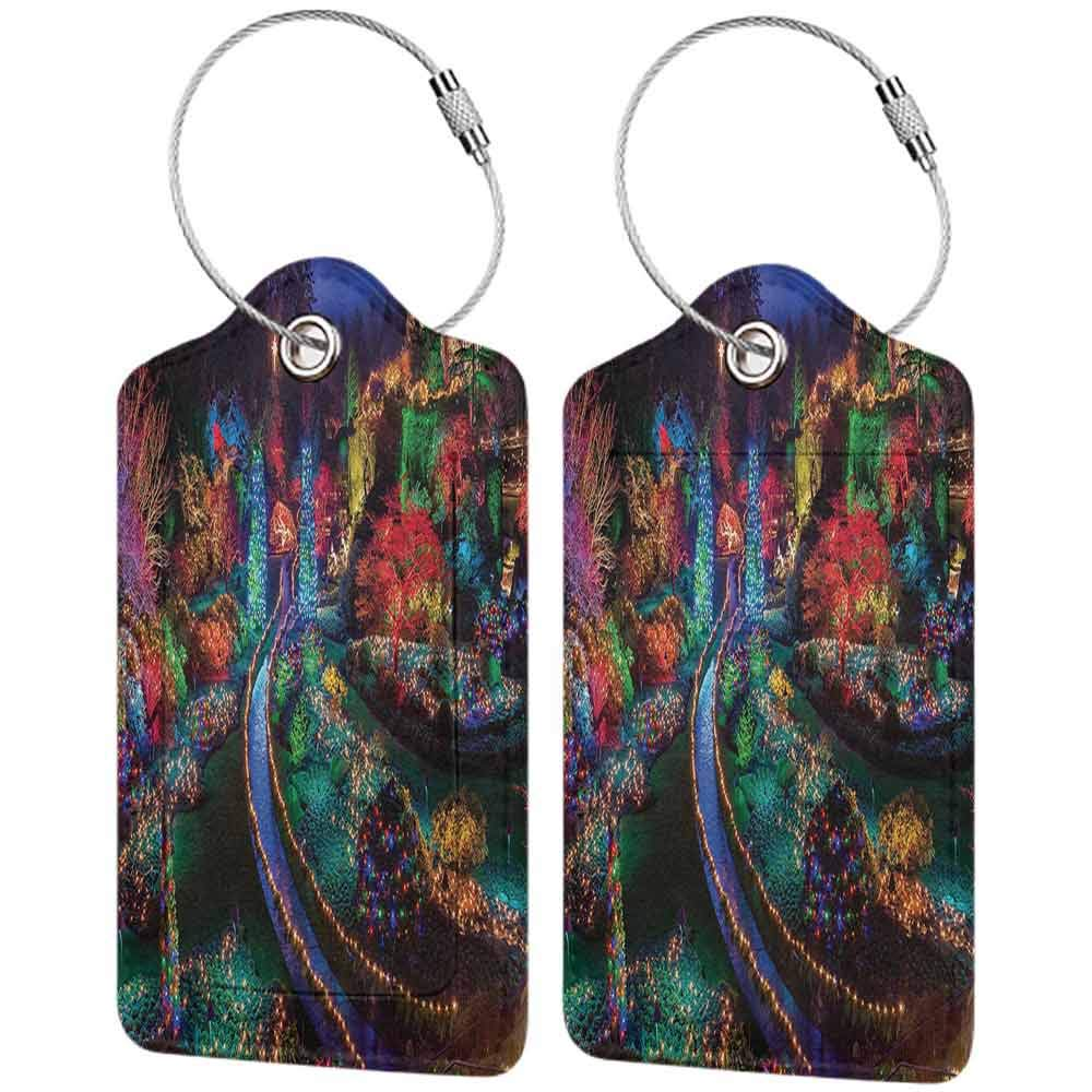 Multicolor luggage tag Country Home Decor Colorful Christmas Light at Buchart Hanging on the suitcase Gardens Celebrations Seasonal Nature Picture W2.7 x L4.6