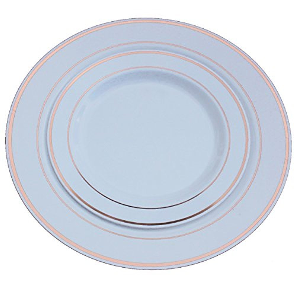 "Exquisite Reflective Plastic Plates-60 Peices Premium Heavyweight Plastic Dinnerware (30- 10.25"" Dinner and 30 - 7.5"" Salad/Dinner) Wedding Like China (Rose Gold)"