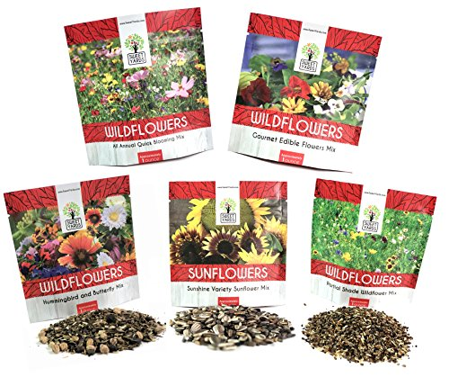 Butterfly Wildflower Seed Mix (Bulk Wildflower Seeds Variety Pack - 5 Large Packets 5 Different Mixes - Over 1/4 Pound - More Than 30,000 Open Pollinated Seeds)