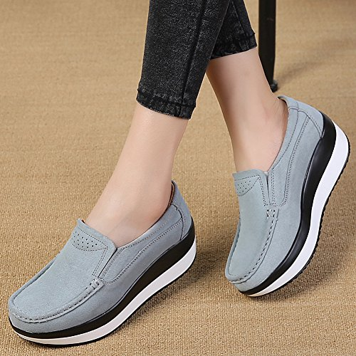 Comfort ZYEN on Wedge Grey Slip Moccasins Suede Loafers Platform 3213 Walking Women Shoes Sneakers XgZrRwqX