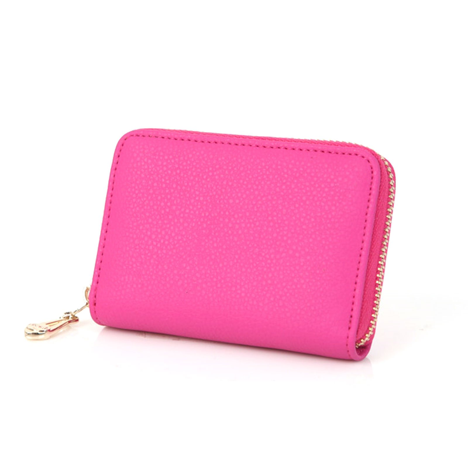 Loving You Leather Accordion Style Zipper Card Wallet Useful Credit Card Wallet Small Purse (Hot Pink)