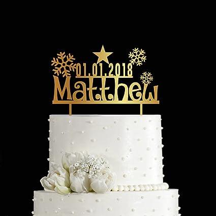 Amazon.com: KISKISTONITE 1st Cake Toppers Christmas Snowflake Design ...