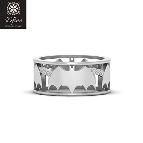 Amazon Com Diamond Batman Wedding Band For Mens Fantasy Superhero