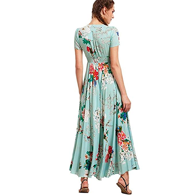 Long Dress, kaifongfu Women Summer V-Neck Button Flower Up Split Floral Cotton Tassels Flowy Party Maxi Long Dress at Amazon Womens Clothing store: