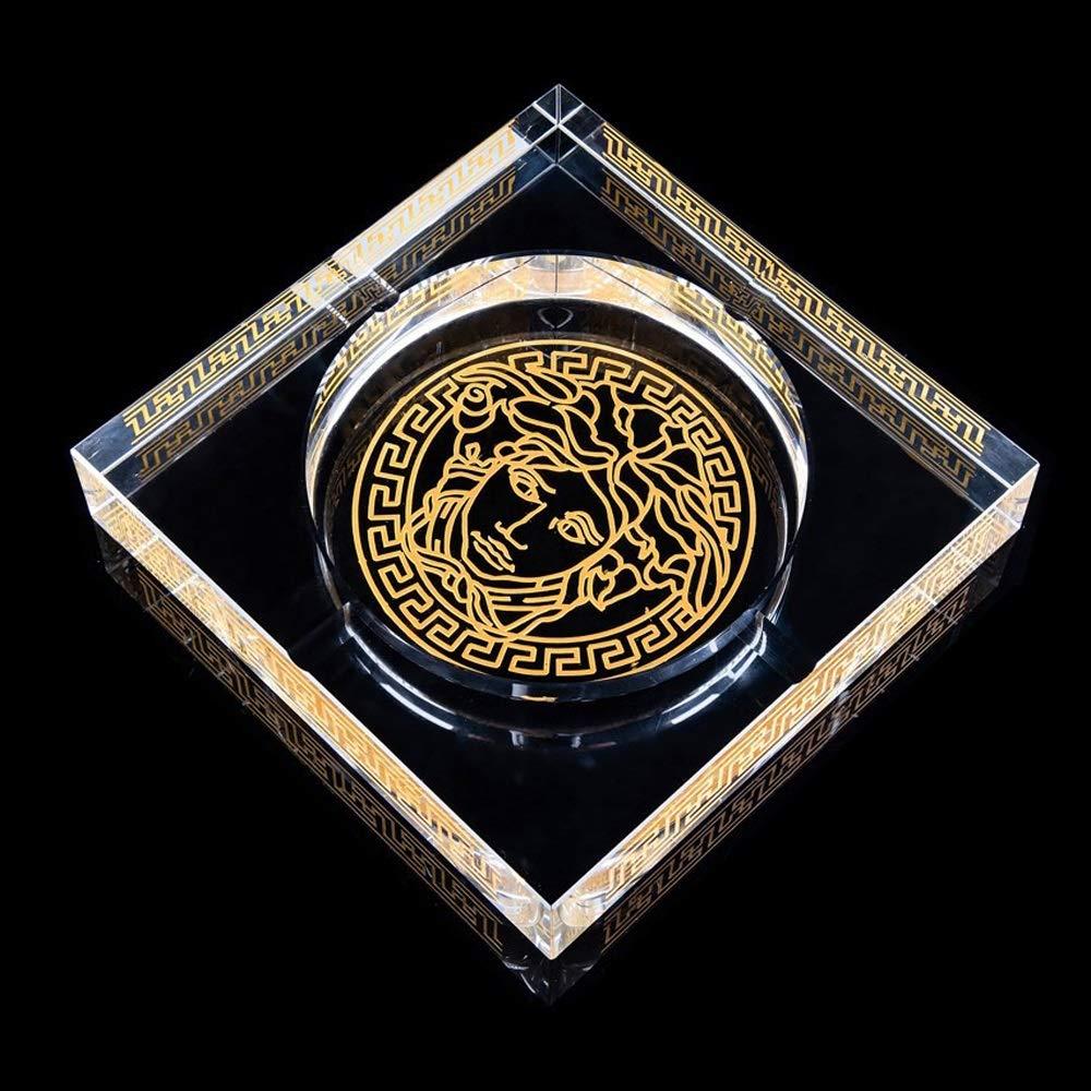 Oficina de decoraci/ón para el hogar Cenicero para cigarros Cuadrado WHPHOME Cenicero de Cristal Pesado Size : S