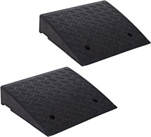 HOMCOM Set of Two Rubber Car Curb Ramps - 19