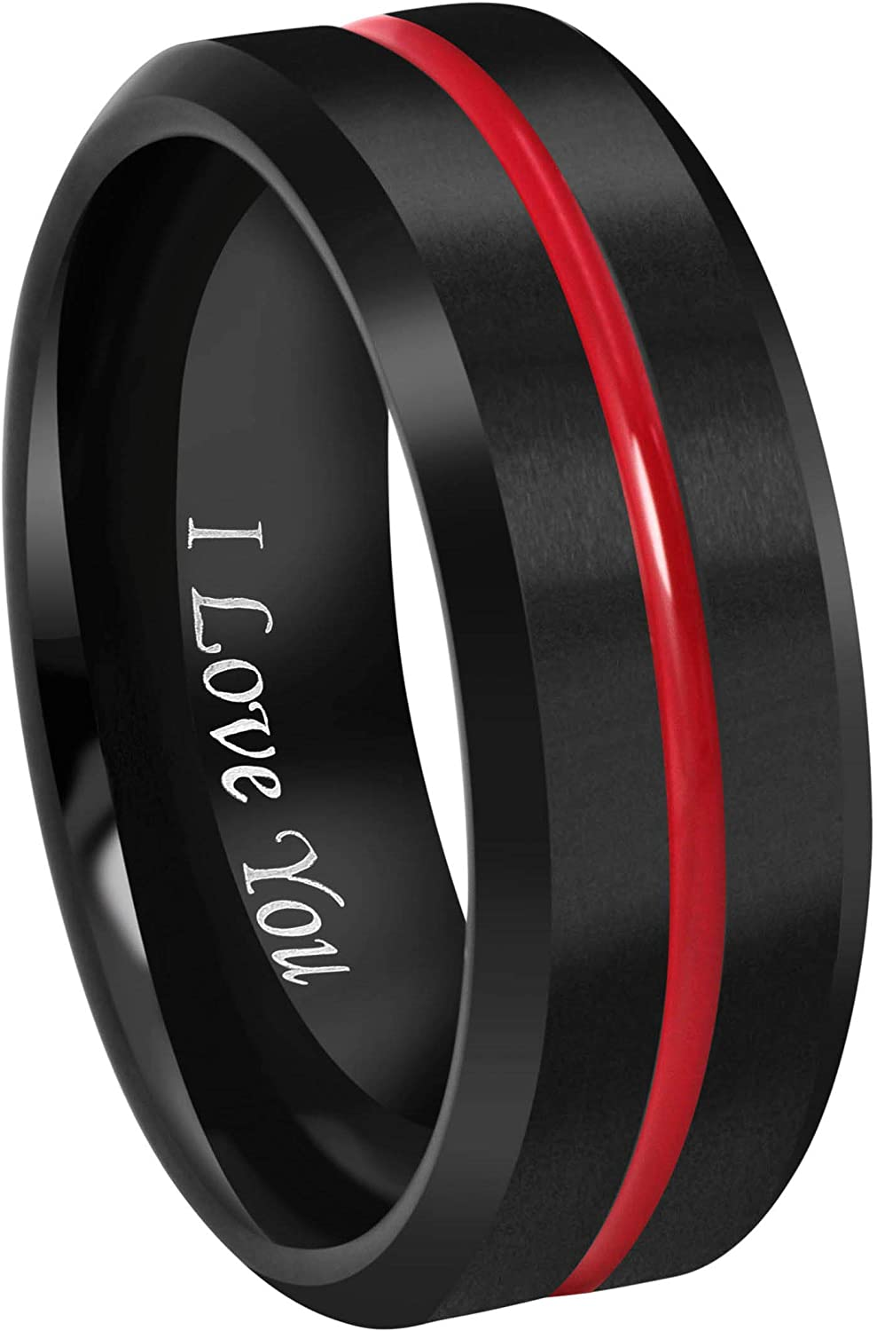 "Crownal 8mm Thin Red Groove Black Brushed Tungsten Carbide Wedding Band Ring Comfort Fit Engraved""I Love You"" Size 5 To 17"