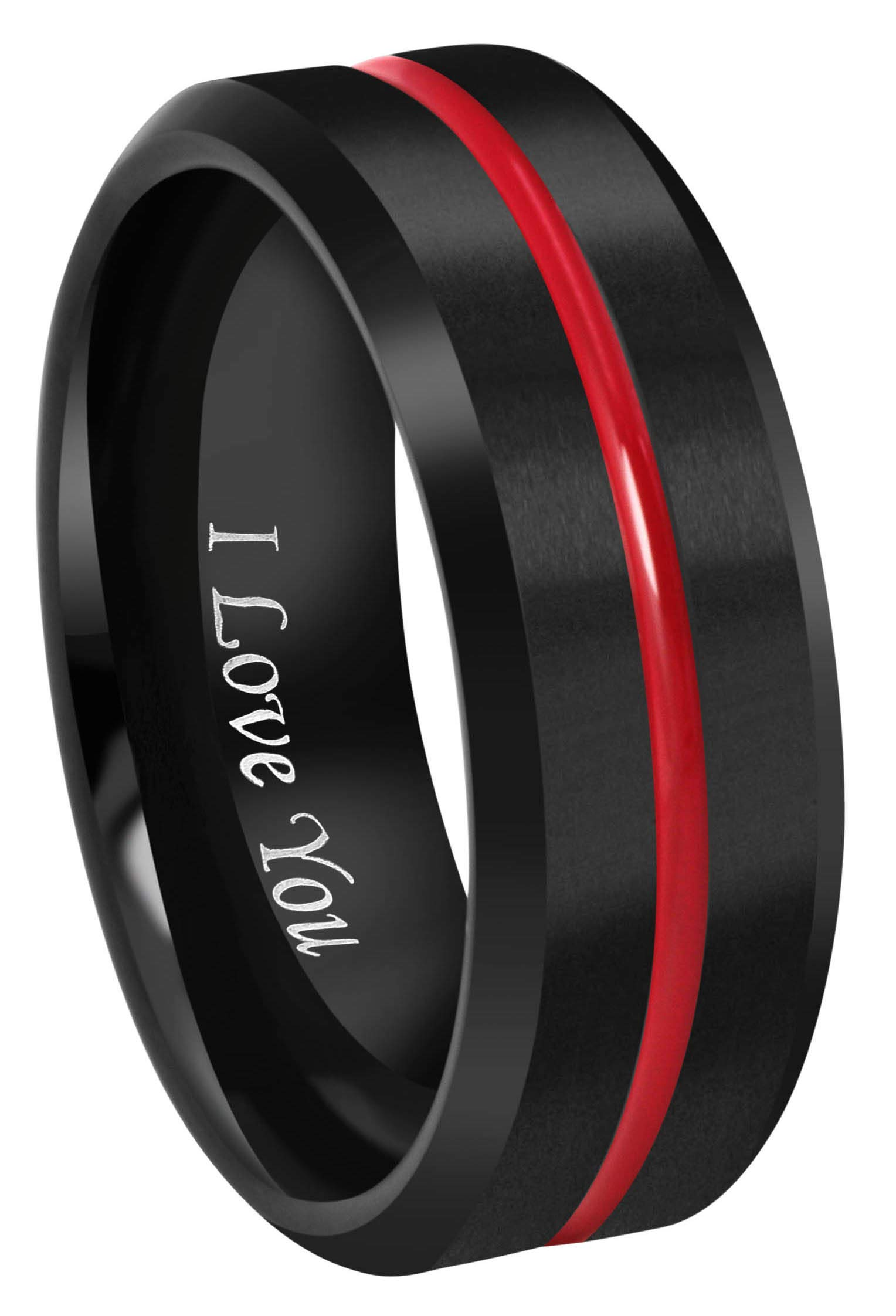 CROWNAL 8mm Thin Red Groove Black Brushed Tungsten Carbide Wedding Band Ring Comfort Fit Engraved I Love You Size 5 to 17 (8mm,16) by CROWNAL (Image #1)