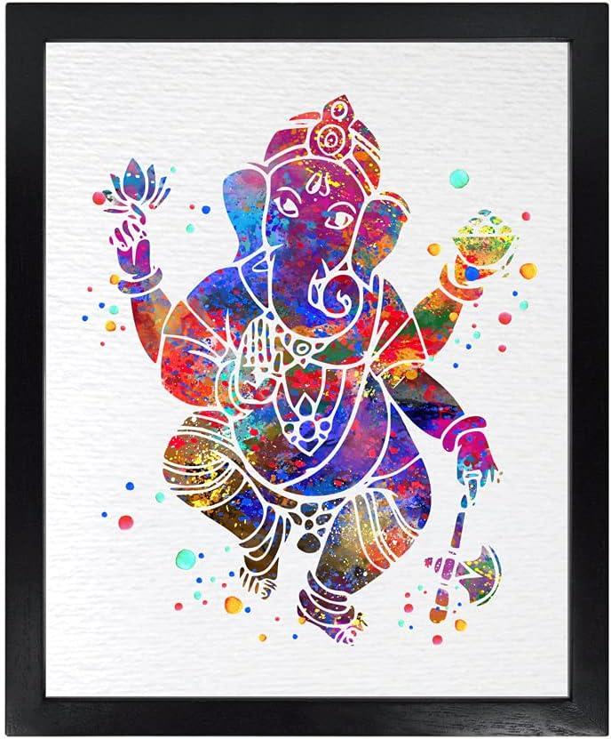 Dignovel Studios Unframed 8X10 Elephant Hindu God Ganesha Lord Worship Prayer Watercolor Art Wedding Housewarming Nursery Kids Wall Art Giclee Office Home Decor Wall Hanging DN516