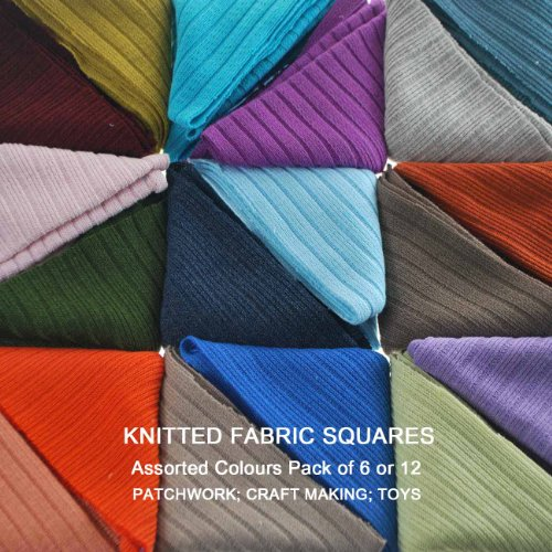 Neotrims Knit Rib Cut Fabric Squares Patchwork, Assorted Colours Pack of 6, appox 30 x 30 cm Squares. Cotton Rich Knitted Ottoman Rib Style. Toys Making, Art & Crafts, Patchwork, Endless uses. Beautiful Combination of Mixed Colours.