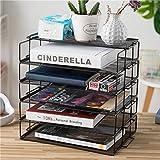 Rart Metal Desk Organizer,Multi-Layer Storage Rack Display Shelves Fashion Book Shelf Storage Rack-Black 34x25x30.5cm(13x10x12inch)
