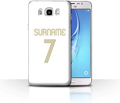 Personalizado Kit Camiseta Club Fútbol Euro Personalizar Funda para el Samsung Galaxy J5 2016 / Oro Blanco Diseño/Inicial/Nombre/Texto Carcasa/ Estuche/Case: Amazon.es: Electrónica