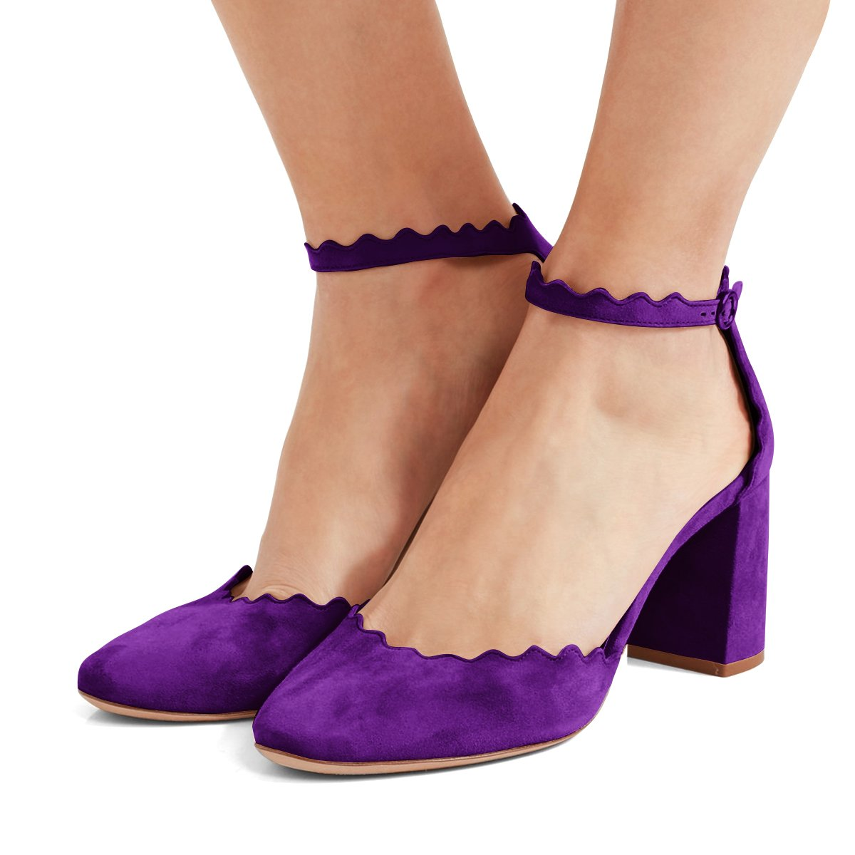 FSJ Women Comfortable Ankle Strap Pumps Block Chunky Heels Round Toe D'Orsay Shoes Size 4-15 US B078J5GTB4 5 M US|Purple