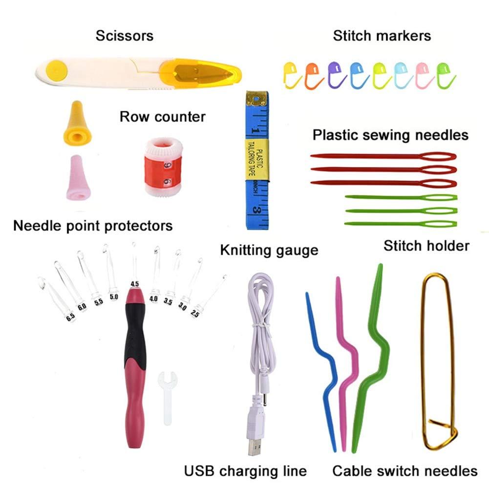 Crochet Hooks - Knitting Needles LED Light Up Practical DIY Knit USB Charging Yarn Sewing Tool Crochet Hook Set Weaving Home Accessories Craft
