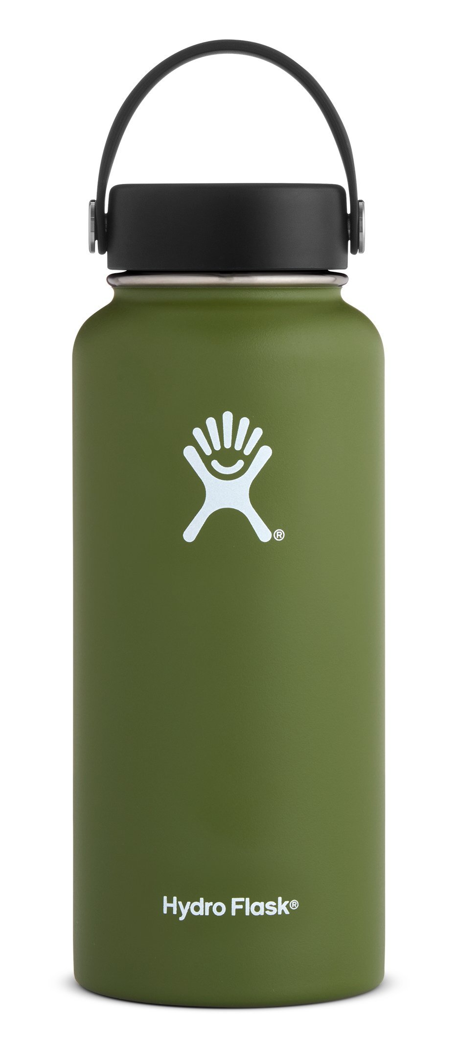 Hydro Flask 32 oz Double Wall Vacuum Insulated Stainless Steel Leak Proof Sports Water Bottle, Wide Mouth with BPA Free Flex Cap, Olive by Hydro Flask