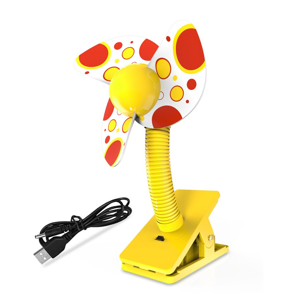 Clip On Baby Stroller Fan with Soft Foam Blade Portable Mini Travel/ Desk / Versatile Personal Fan Powered by USB/ 2 AA Batteries (Yellow) by JWQQ