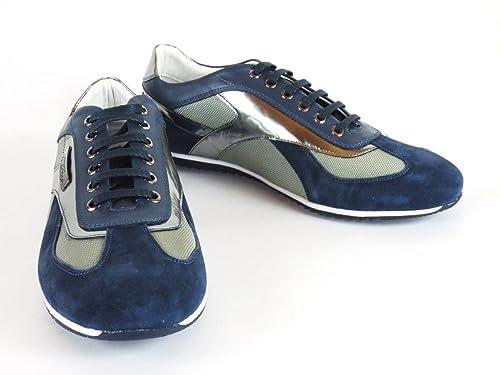Versace - Zapatillas de cuero para hombre, color azul, talla 40: Amazon.es: Zapatos y complementos