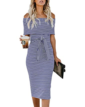 d0fa6c395ee9 YOMISOY Womens Off Shoulder Bodycon Dress Short Sleeve Striped Ruffle Midi  Cocktail Evening Dress with Belt