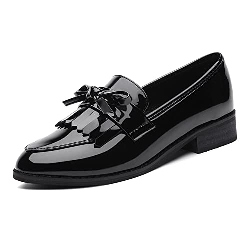 La primavera de estilo británico de las mujeres modernas con la borla de charol de tacón bajo Kurzschaft Casual Zapatos Mocasines color negro , talla 34: ...