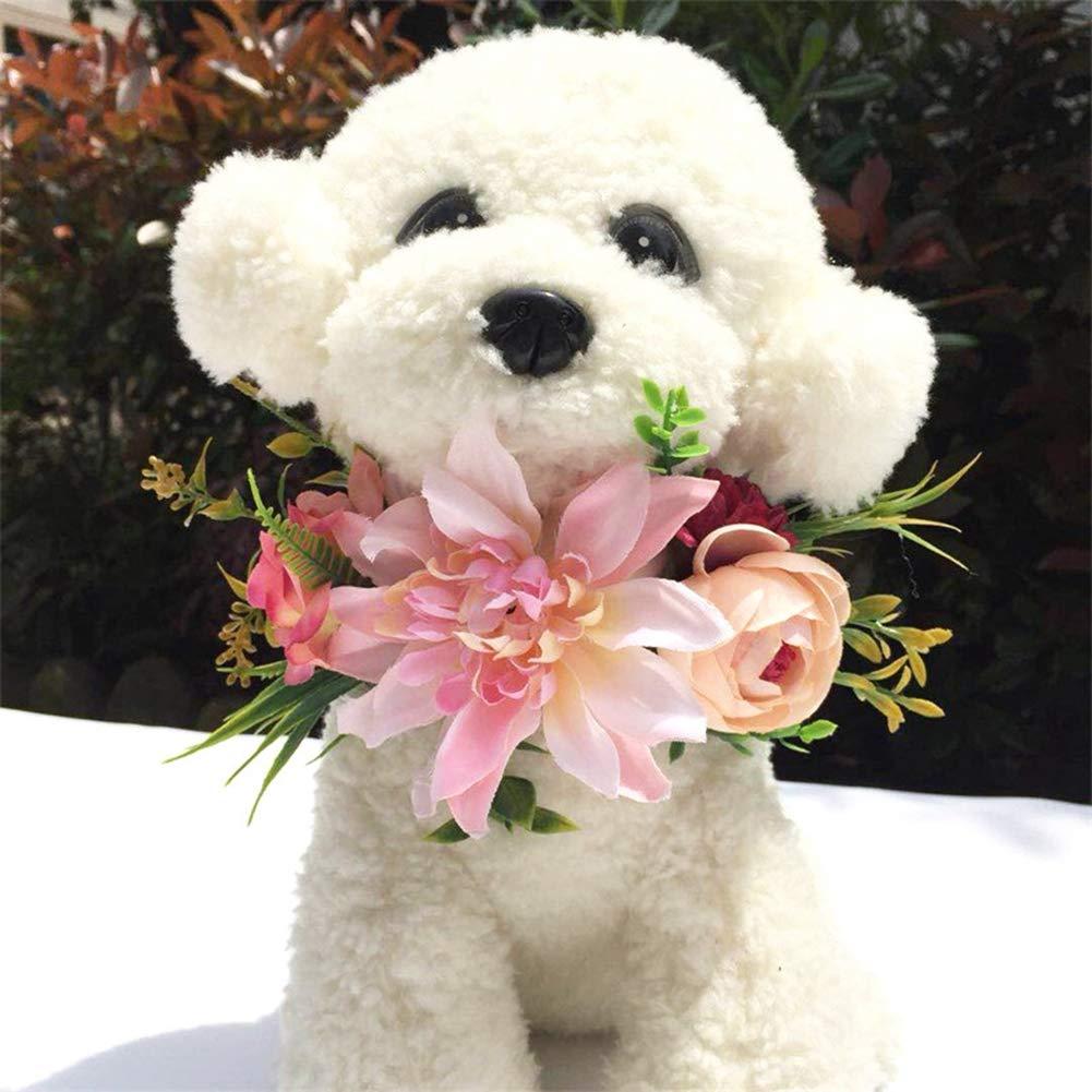 Tutuba Pet Dog Floral Flower Headband,Cute Handmade Beautiful Wreath Floral Garland Crown for Dog Cat
