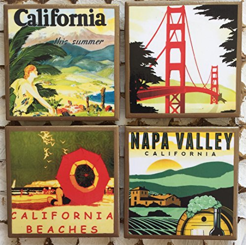 Retro California Travel Poster coasters with gold trim