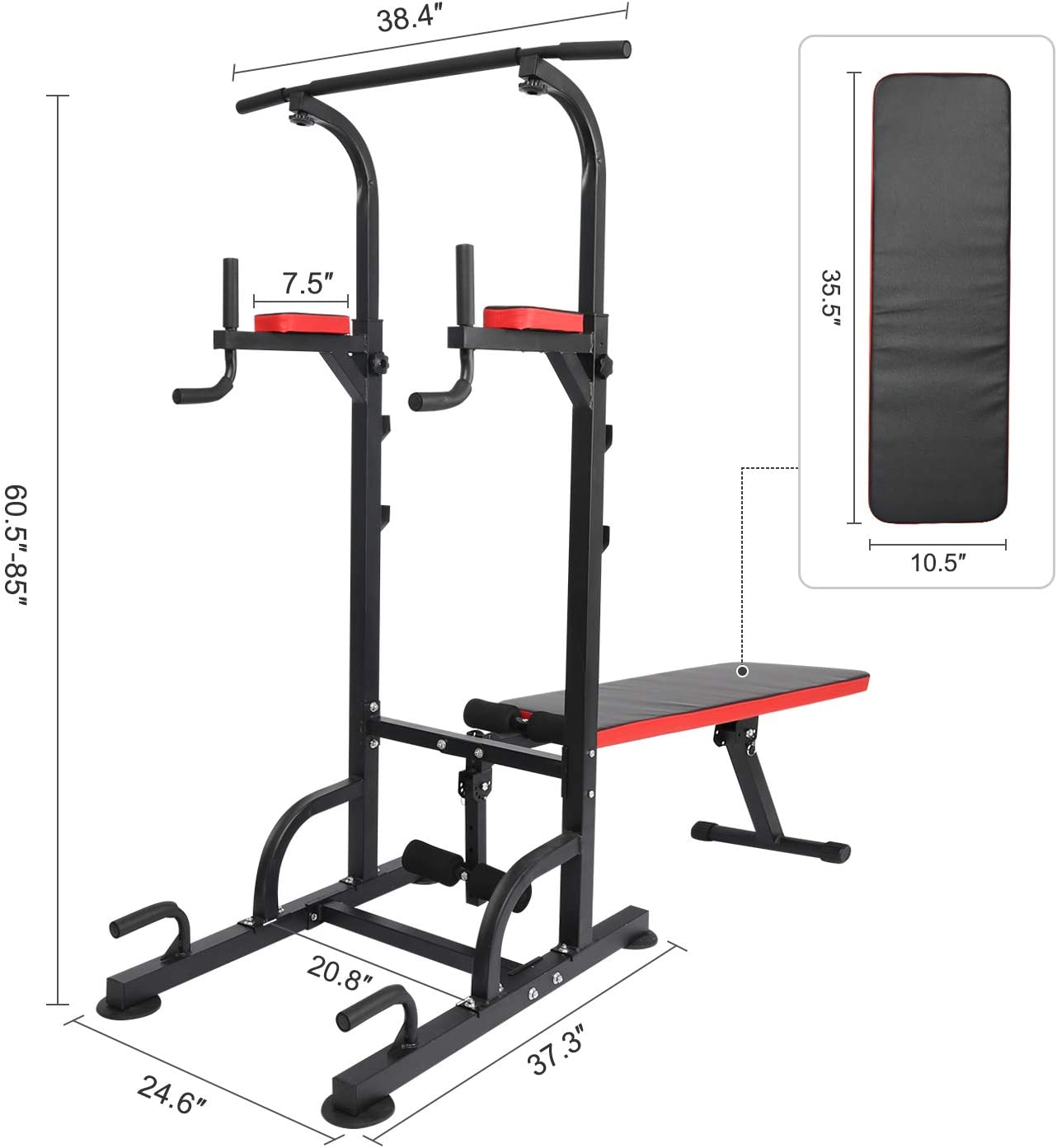 KAC Power Tower with Weight Bench Adjustable Dip Station Pull Up Bar for Home Gym Strength Training Workout Equipment