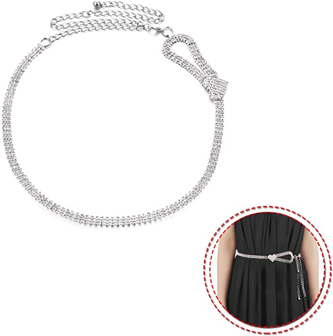 Ladies Women Metal Adjustable Diamante Waist Chain Belt Girl Jewellery Accessory