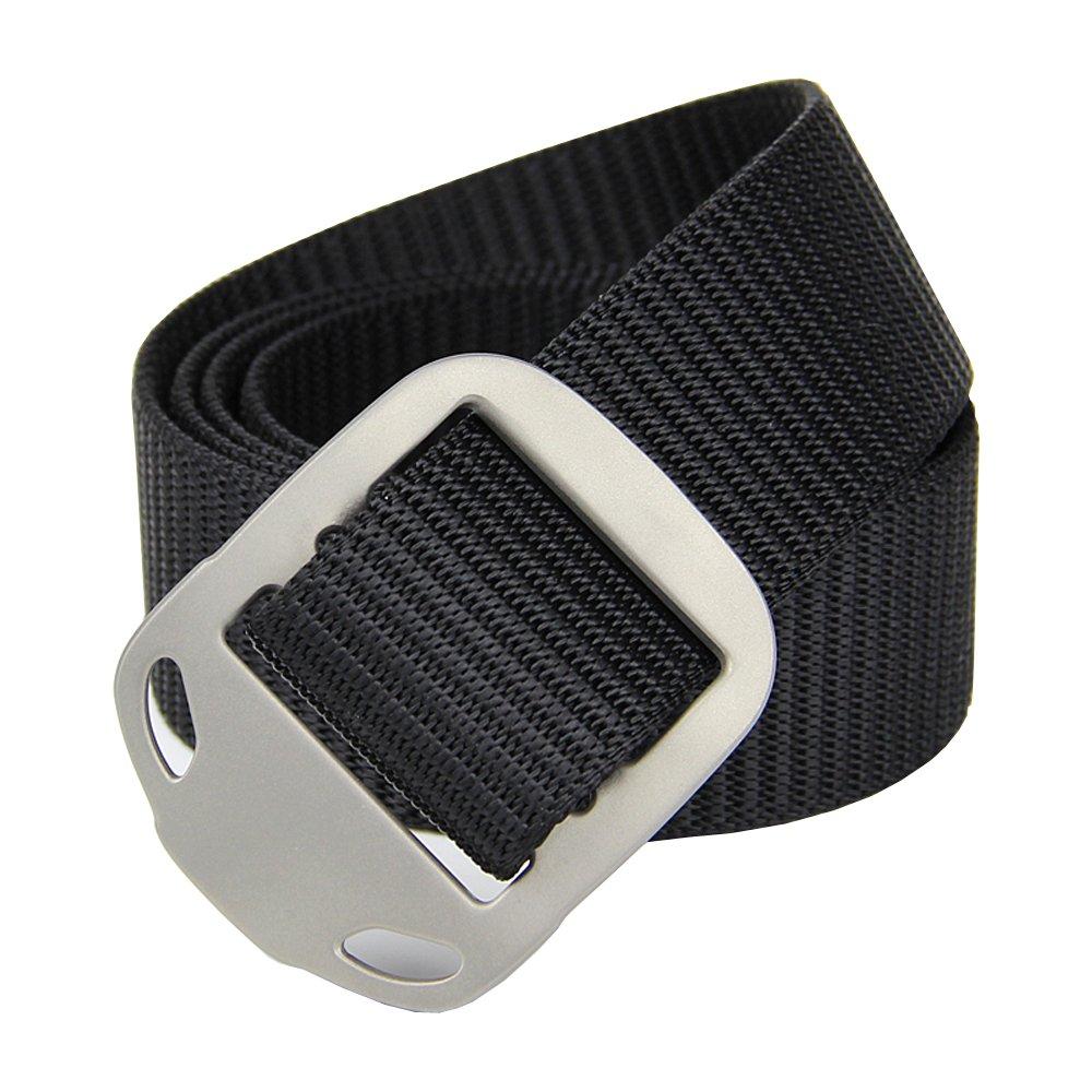 ROCKWAY Unisex Canvas Waist Belt with Animal-shaped Titanium Buckle, 3.5cm Wide (2 Nylon Belt Straps Included) (Black, Medium)