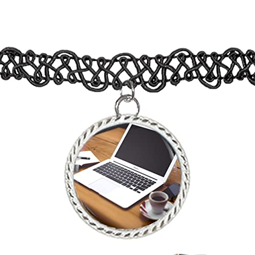 Escritores escritorio con café y Apple ordenador portátil Gargantilla Colgante Encanto Collar: Amazon.es: Joyería