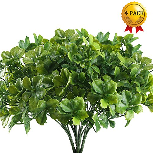 Nahuaa Artificial Plants Outdoor, 4PCS Fake Greenery Shrubs Faux Plastic Clover Leaf Bushes Bundles Table Centerpieces Arrangements Home Kitchen Office Windowsill Spring Decorations by Nahuaa