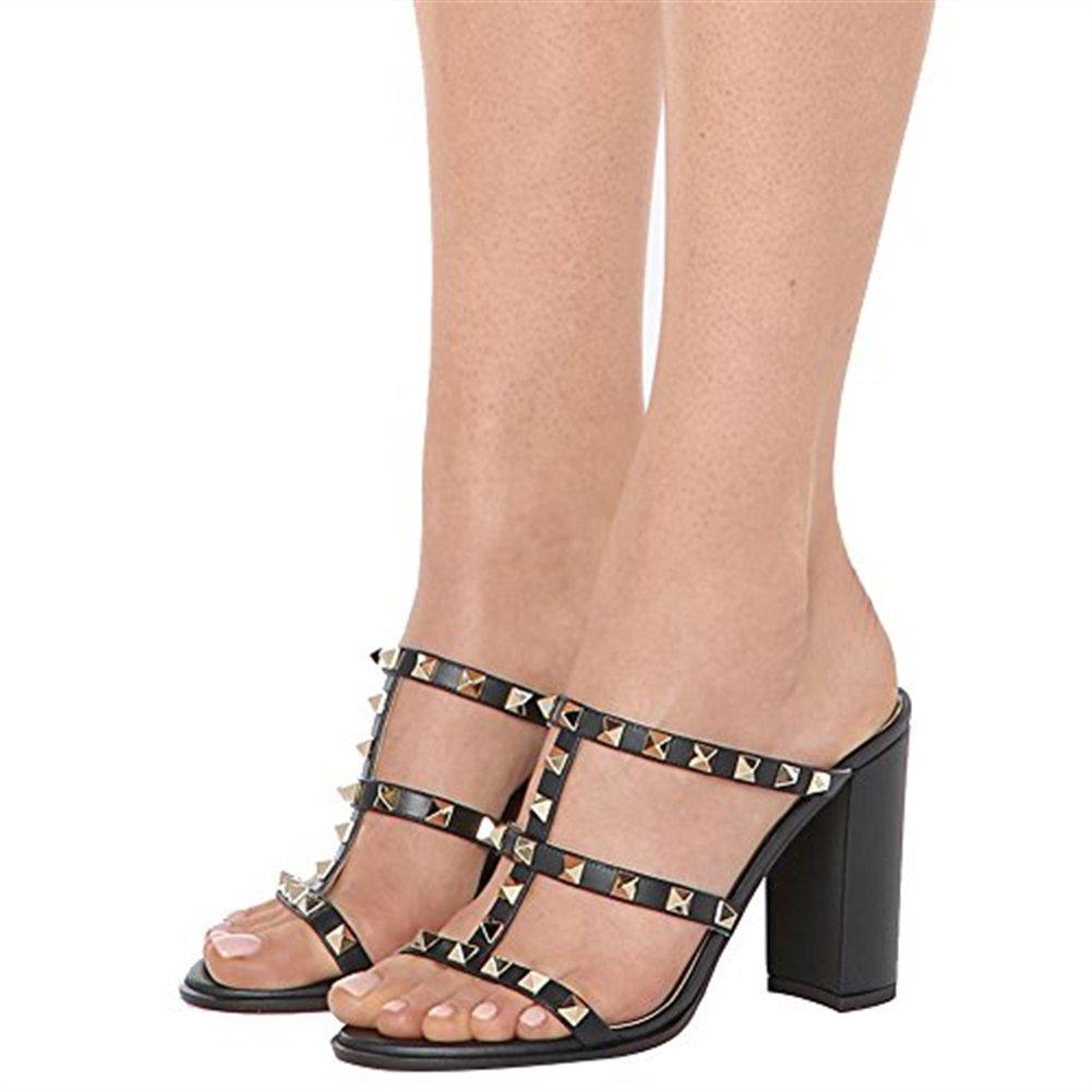Chris-T Chunky Heels for Womens Studded Slipper Low Block Slide Heel Sandals Open Toe Slide Block Studs Dress Pumps Sandals 5-14 US B07DH7XNVH 8 M US|Black 10cm dbf2dd