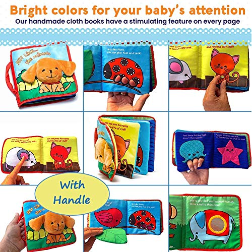 Premium Soft Baby Book First Year, Cloth Book Bunny with Crinkly Sounds, Fun Interactive Toy, Fabric Book for Babies…