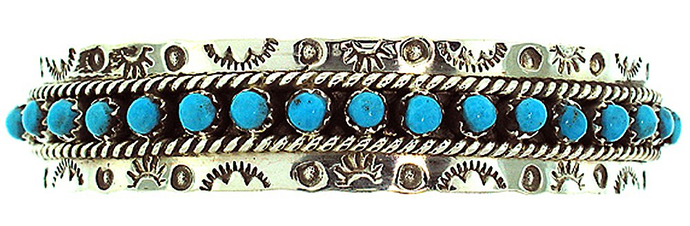 Made in the USA by Zuni Artist JP Ukestine. Beautiful Sterling-silver Turquoise Women's Bracelet