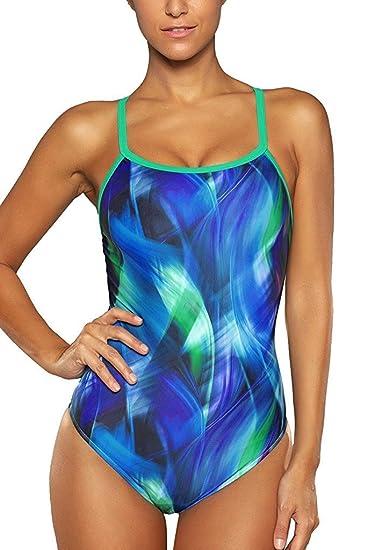 67a32c7023 CharmLeaks Women Sport Cross Back One Piece Swimming Costume  Amazon.co.uk   Clothing