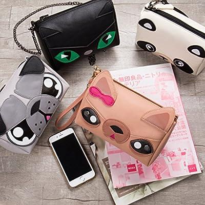 BMC Faux Leather Small Size Cute Animal Face Crossbody Clutch Handbag