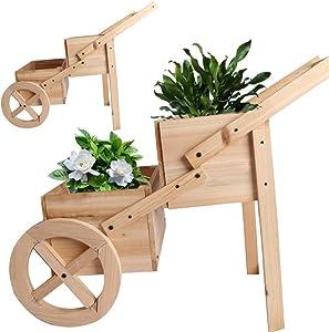 BIG.TREE Flower Planter Pot Wooden Wagon Cart Flower Box Display (NTL, 2 Tier)