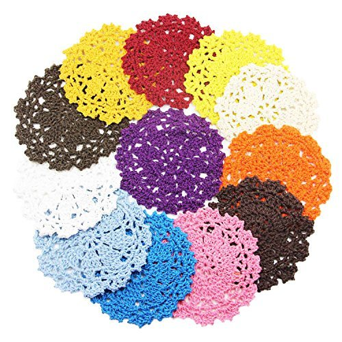 Coasters Set of 12 Colorful Handmade DIY Flower Crochet Lace Round Hollow Weaved Coaster for Drinks - Retro Cotton Tabletop Drink Coasters - 4 -